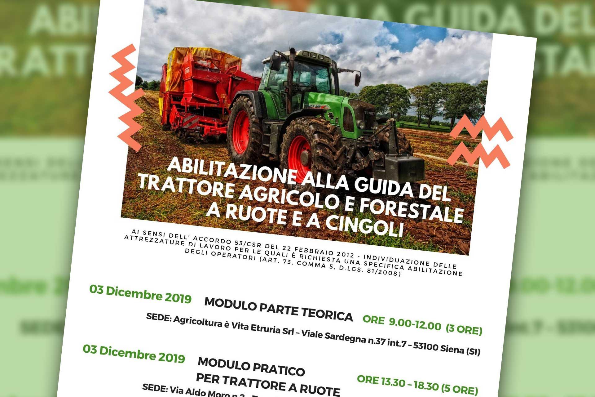 Siena. Nuovo corso per l'abilitazione alla guida del trattore da Agricoltura è Vita Etruria s.r.l.